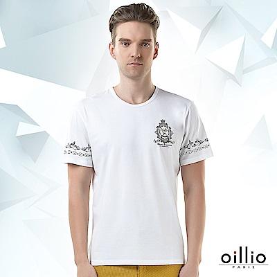 歐洲貴族oillio 短袖T恤 雙袖圖騰 公鹿印花 白色