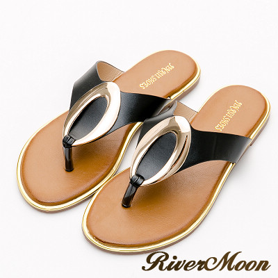 River&Moon加大尺碼-金屬橢圓夾腳飾金邊涼拖鞋-黑系
