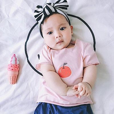 Baby unicorn 粉紅蘋果捲邊短袖上衣