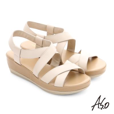 A.S.O 嬉皮假期 真皮彈力交叉寬帶涼鞋 米色