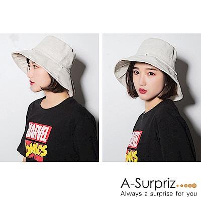 A-Surpriz 純色綁蝴蝶結棉麻布遮陽帽(5色選)