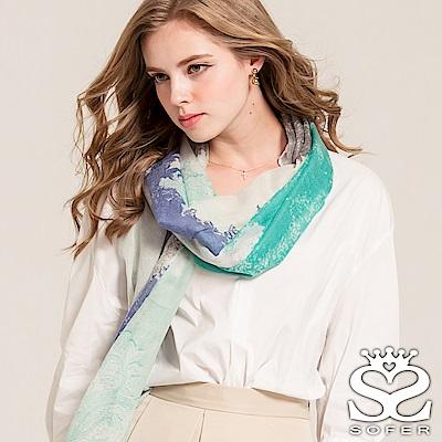 SOFER 渲染圖騰100%喀什米爾保暖披肩/圍巾 - 冰雪藍