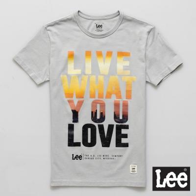 Lee 短袖T恤 夕陽文字圖案文字印刷-男款(灰色)