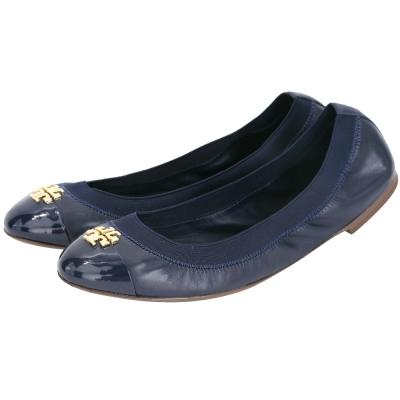 TORY BURCH Jolie 皮革拼接平底娃娃鞋(深藍色)