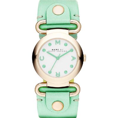 Marc Jacobs 軍裝風格時尚腕錶-白x金框/綠/30mm