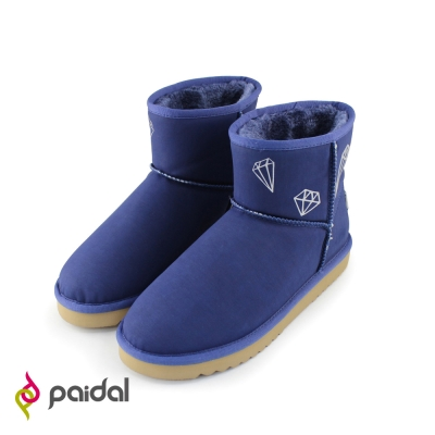 Paidal鑽飾保暖短筒雪靴-寶石藍