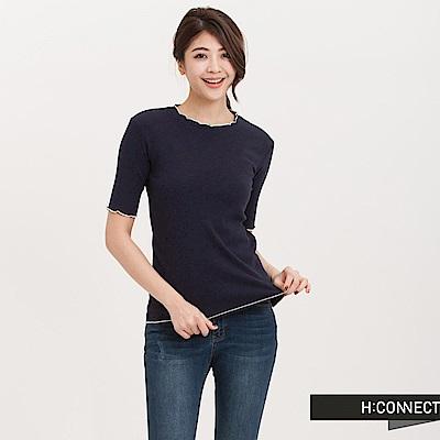 H:CONNECT 韓國品牌 女裝-荷葉針織坑條上衣-深藍