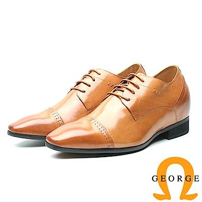 GEORGE 喬治-內增高系列 舒適素面綁帶皮鞋 男鞋-駝