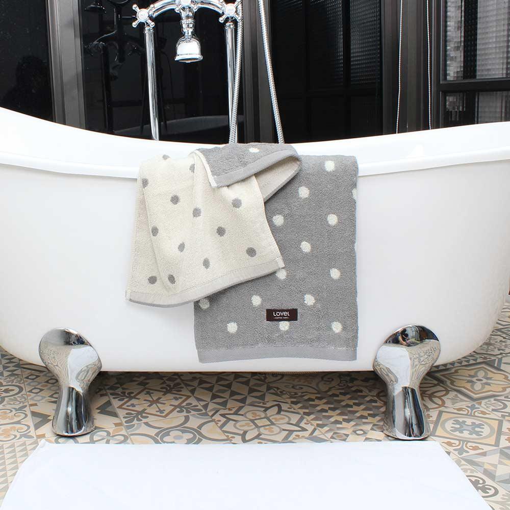 Lovel 專利咖啡紗除臭抗UV圓點2件組(浴巾+毛巾)