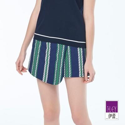 ILEY伊蕾 率性條紋印花褲裙(藍)