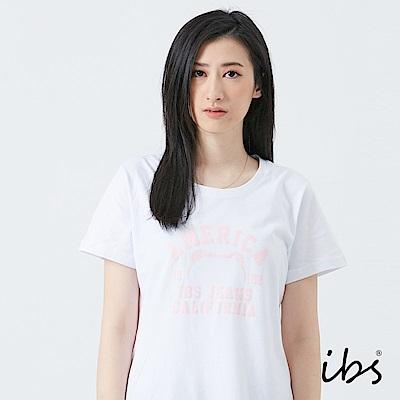 ibs美式小熊框線T恤-白-女