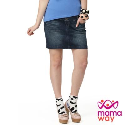 【Mamaway】孕期牛仔裙(刷白藍)