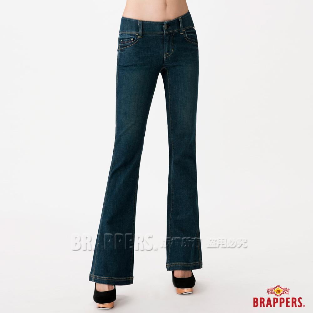 BRAPPERS 女款 新美腳系列-女用彈性小喇叭褲-經典藍