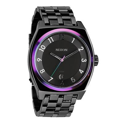 NIXON MONOPOLY輕巧躍動都會日期腕錶-藍紫框x黑/40mm