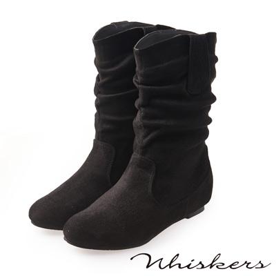 Whiskers 完美腿型 素色抓皺內增高中筒靴*黑色