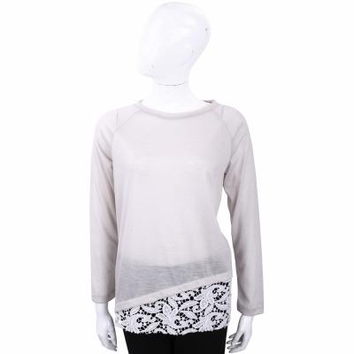 FABIANA FILIPPI 灰色蕾絲拼接長袖羊毛上衣(100%WOOL)