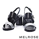涼鞋 MELROSE 摩登典雅壓紋牛皮雙字帶繫帶金屬高跟涼鞋-銀