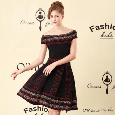 刺繡針織一字領洋裝-OMUSES