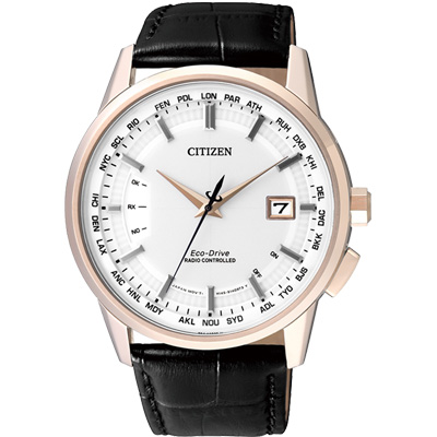 CITIZEN 光動能 雅爵時尚5局電波錶(CB0153-13A)-白/44mm