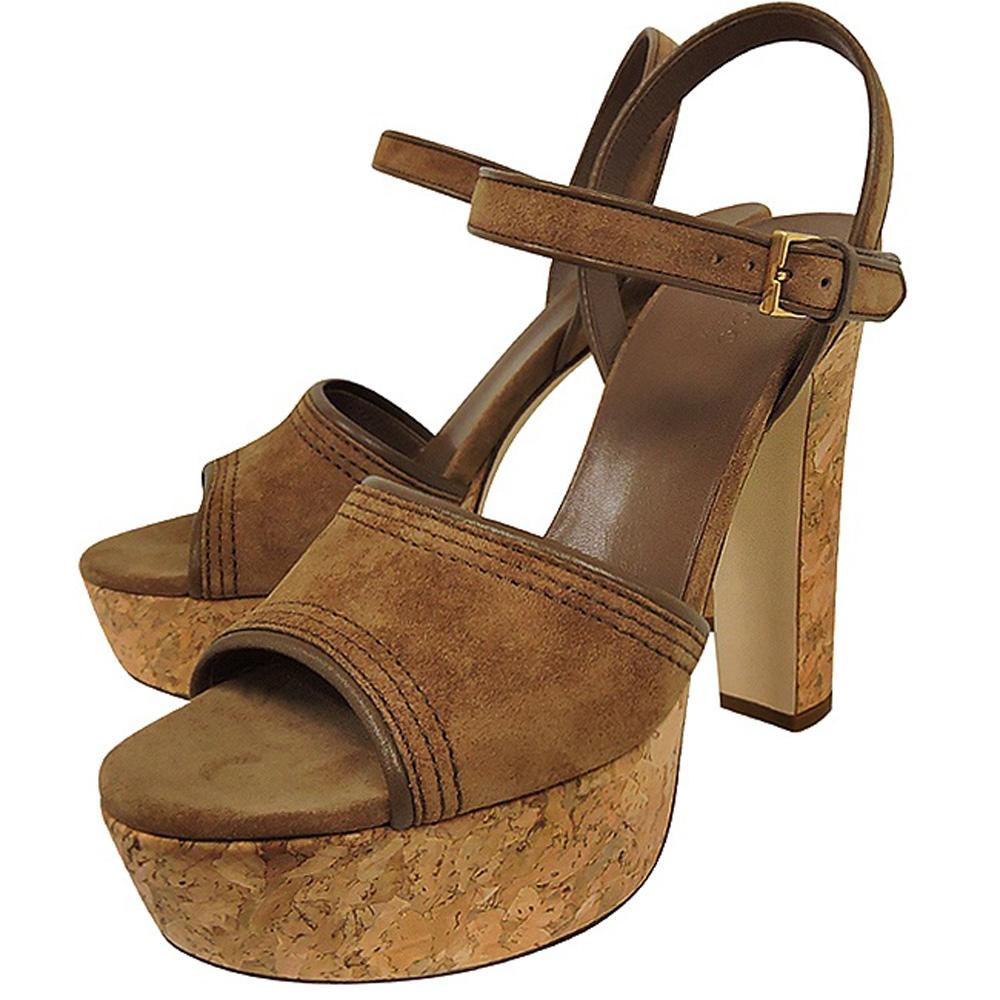 GUCCI 麂皮厚底高跟鞋(咖啡色)【37.5號】GUCCI
