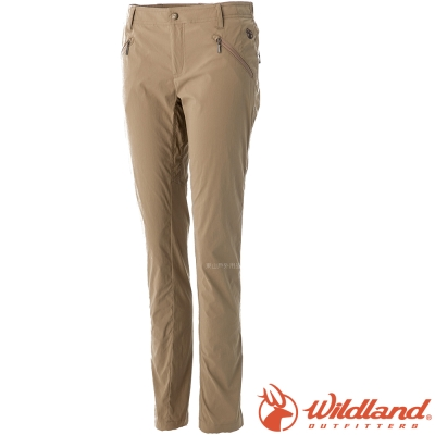 Wildland 荒野 0A0A51313-62黃卡其 女 彈性透氣抗UV合身褲