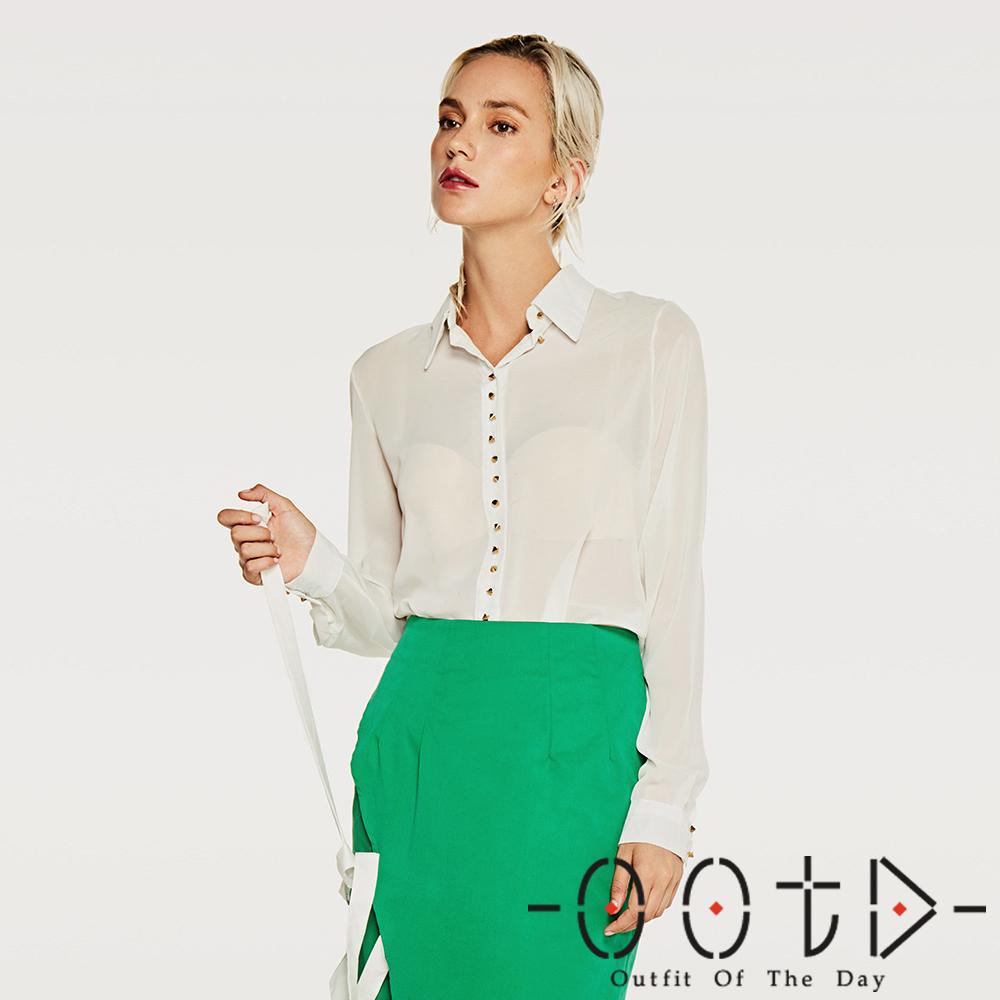 個性金屬扣長袖雪紡襯衫 (白色)-OOTD