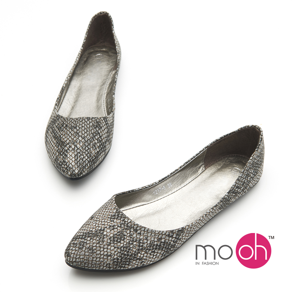 mo.oh-蛇紋軟皮尖頭平底娃娃鞋-灰