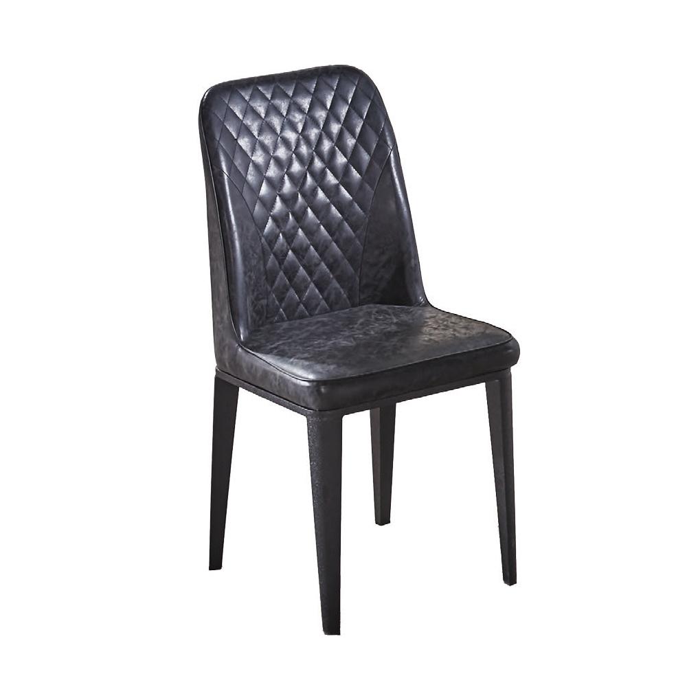 AT HOME-格林黑色菱格皮面鐵藝餐椅(47*48*93cm)