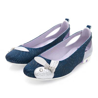 PLAYBOY 甜心女孩 波浪紋路後鏤空娃娃鞋-藍(女)