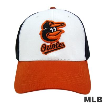MLB-巴爾的摩金鶯隊撞色可調式棒球帽-白