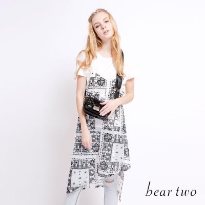 beartwo 佩利斯花紋兩件式雪紡洋裝(二色)-動態show