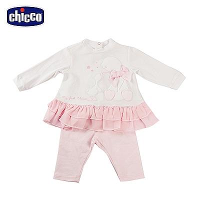 chicco- 天鵝寶寶-長袖荷葉下擺套裝(12-18個月)