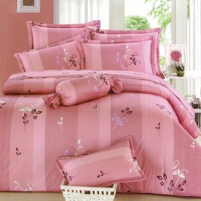 eyah宜雅 全程台灣製100%精梳純棉雙人床罩兩用被全舖棉五件組 小粉花