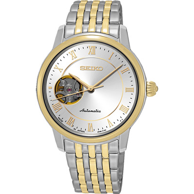 SEIKO Presage 羅馬時光開芯機械女錶(SSA854J1)-銀x雙色版/34mm