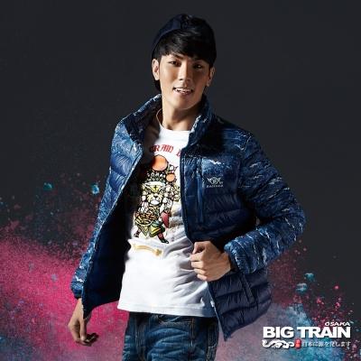BIG-TRAIN-超輕量龍紋羽絨外套-男-灰藍