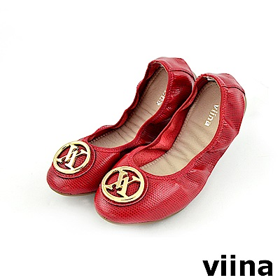 viina 經典款金扣蜥蜴紋摺疊鞋MIT-紅色