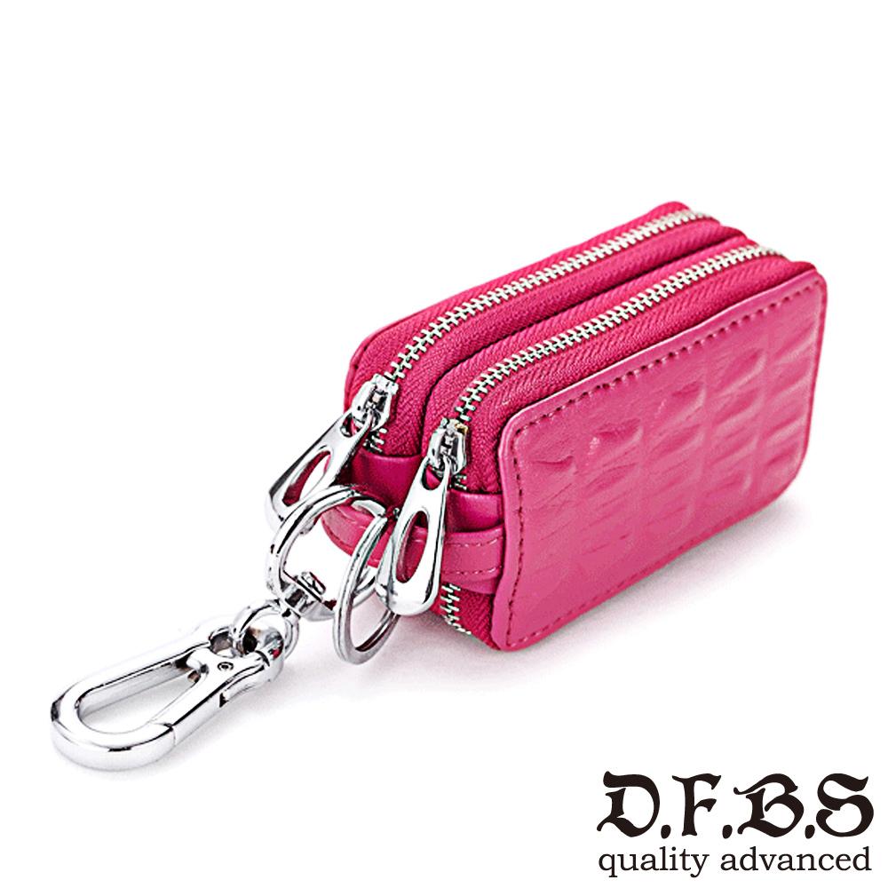 DF BAGSCHOOL皮夾 - 奔馳經典牛皮鱷魚壓紋鑰匙包-玫紅
