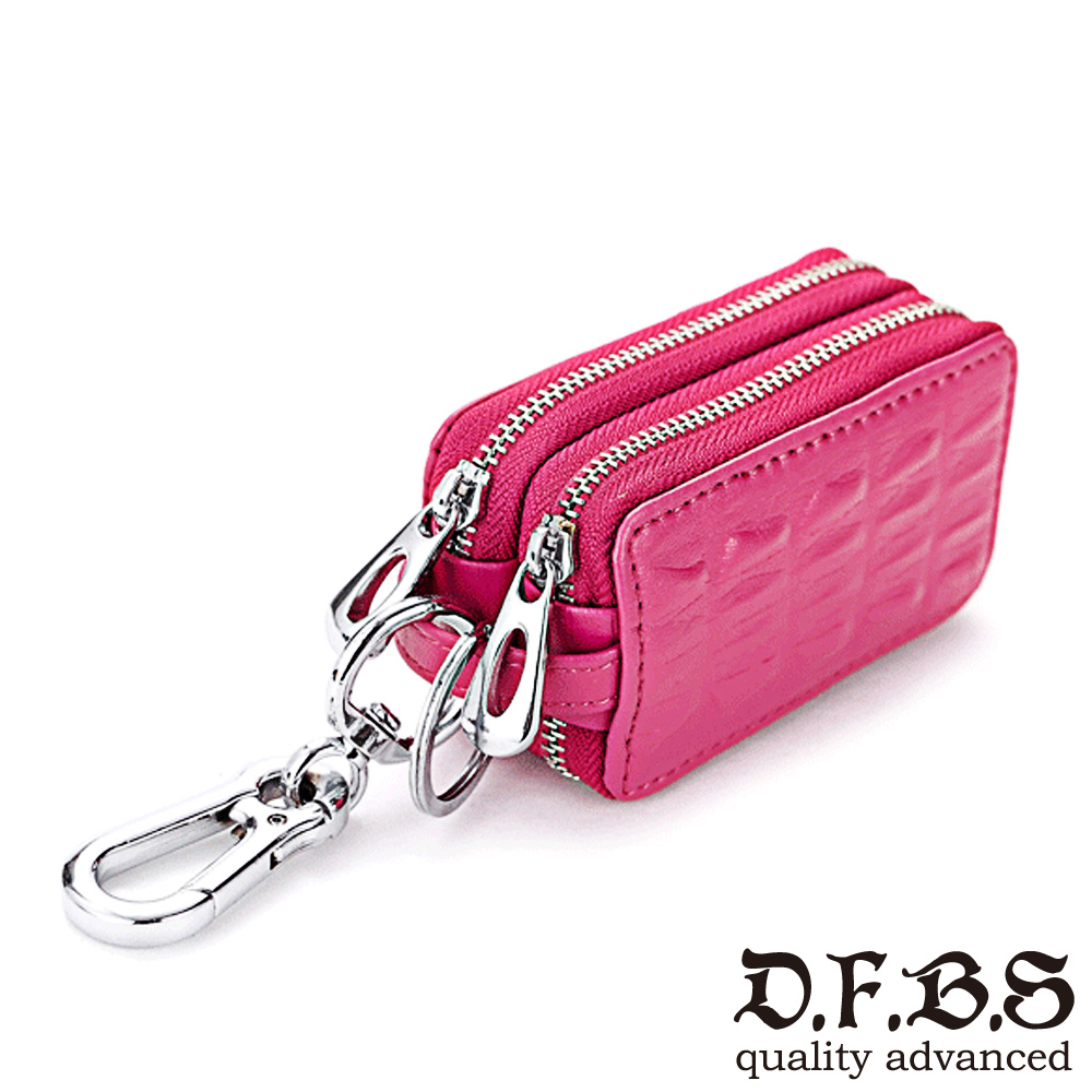 DF BAGSCHOOL皮夾 - 奔馳經典牛皮鱷魚壓紋鑰匙包-玫紅 @ Y!購物