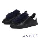 ANDRE-絨毛休閒平底鞋-時髦黑