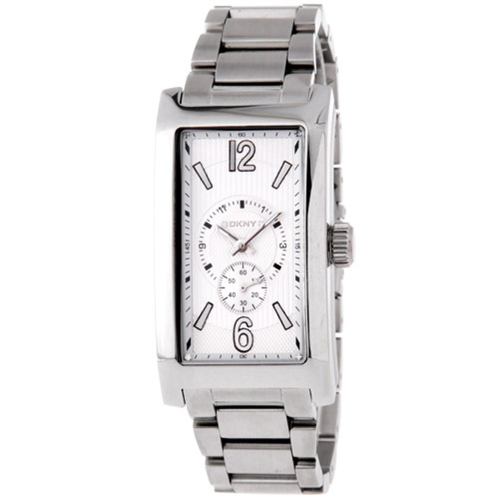 DKNY 都會時尚小秒針長方型腕錶-白/27mm