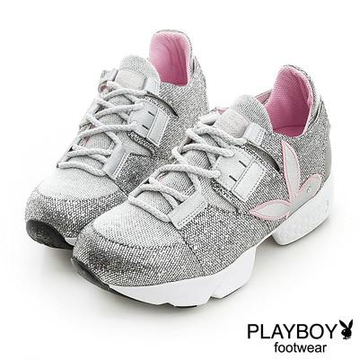 PLAYBOY-星幻遊戲-閃亮韓系休閒鞋-銀-女