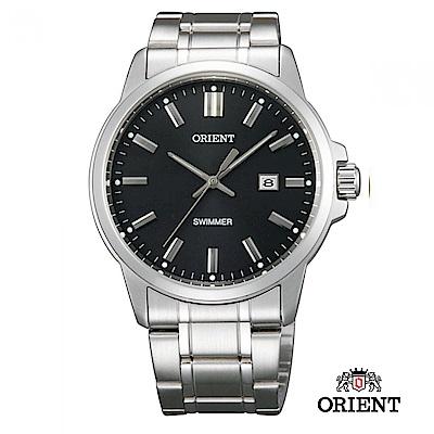 ORIENT 東方錶 OLD SCHOOL系列 復古風石英錶 鋼帶款 黑色-37.0mm