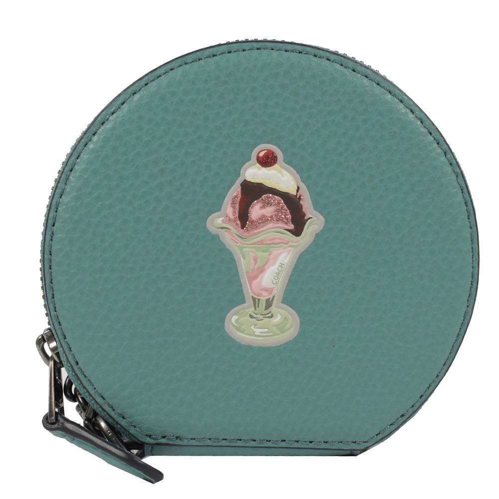 COACH 燙印LOGO趣味圖樣圓形造型零錢包(冰淇淋/綠)