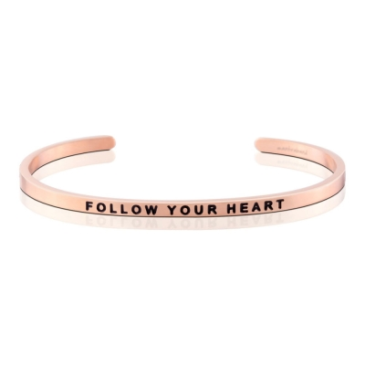 MANTRABAND Follow Your Heart 美國悄悄話 激勵箴言玫瑰金色手環