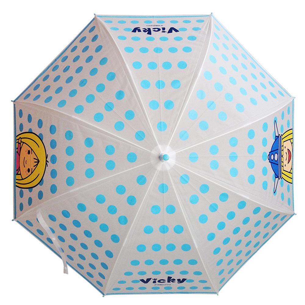 《北海小英雄》水玉自動傘/直傘 (透明藍點)