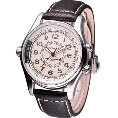 Hamilton Khaki UTC 航海兩地時區腕錶-卡其/43mm