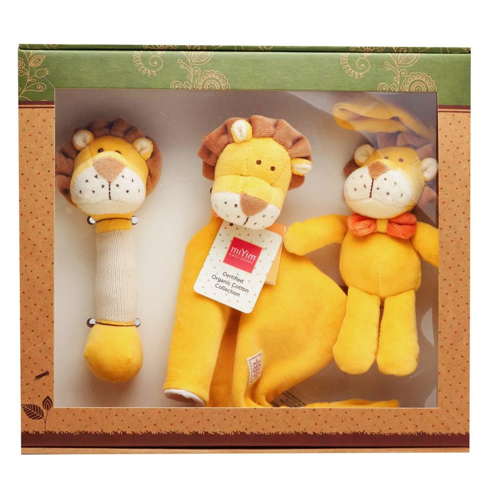 美國miYim有機棉 安撫玩具禮盒(經典3件組)-里歐獅子 @ Y!購物