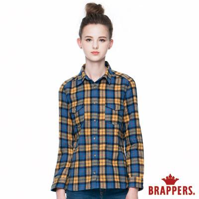 BRAPPERS-女款-女用雙口袋長袖格紋襯衫-黃