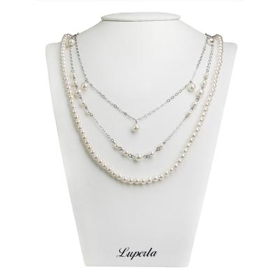 大東山珠寶 3層款式南洋貝寶珠長版項鍊-白