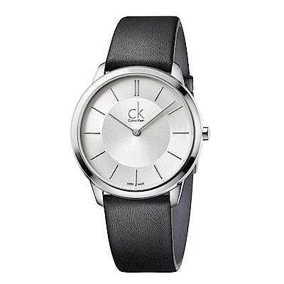 CK CALVIN KLEIN Minimal系列時尚小牛皮手錶-40mm